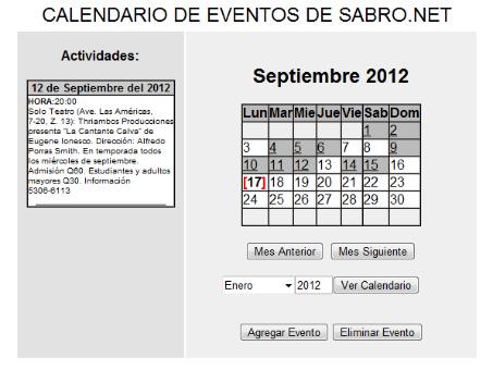 Calendario Php.Calendario De Eventos Administrable En Php Calendario De